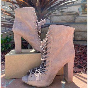 Showpo Lace Up Peep Toe Chunky Heel Sz 8 women